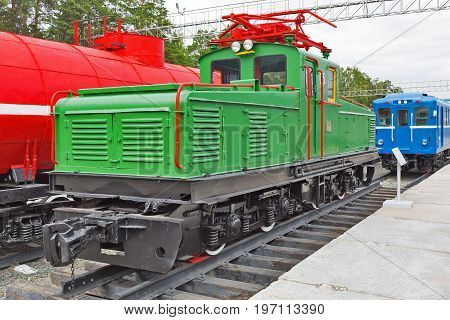 Novosibirsk Museum of railway equipment in Novosibirsk Siberia Russia - July 7 2017: Industrial locomotive type II-KP-2A. Built by Novocherkassk electric locomotive plant named after S. M. Budenny in 1950
