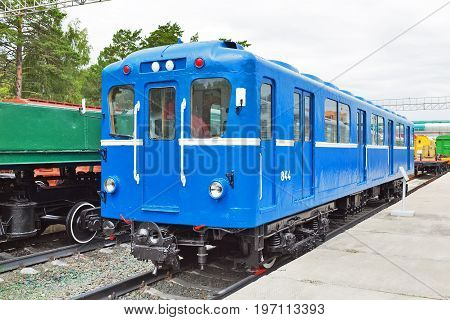 Novosibirsk Museum of railway equipment in Novosibirsk Siberia Russia - July 7 2017: the subway Car type