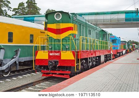 Novosibirsk Museum of railway equipment in Novosibirsk Siberia Russia - July 7 2017: the Czechoslovak shunting diesel locomotive with electric transmission ( ChME 3 ). Built in 1986 the plant