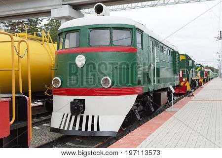 Novosibirsk Museum of railway equipment in Novosibirsk Siberia Russia - July 7 2017: the Locomotive shunter TE2 No. 289. Built in 1953 in Kharkiv locomotive factory of the Ministry of transport and heavy engineering