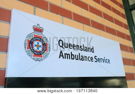 BRISBANE AUSTRALIA - JULY 8, 2017: Queensland Ambulance Service Australia. Queensland Ambulance Service is the chief provider of emergency care and ambulance transport in Queensland