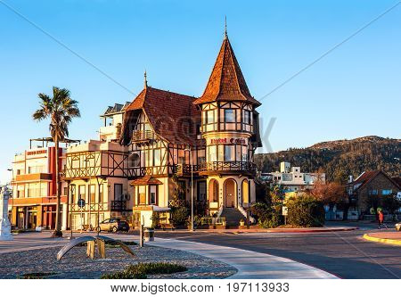 Piriapolis Uruguay - June 28 2017: The historic hotel Colon symbol of the resort town Piriapolis - renovated and opened for turists