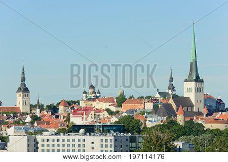 Tallin, Estonia - July 06,2017: Scenic view of the city of Tallin, Estonia