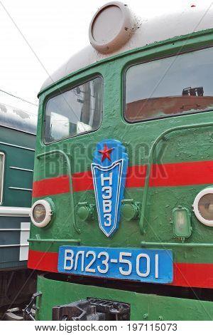 Novosibirsk Museum of railway equipment in Novosibirsk Siberia Russia - July 7 2017: 23 VL ( Vladimir Lenin ) -- Soviet electric locomotive of direct current. Made in 1958 the Novocherkassk electric locomotive plant