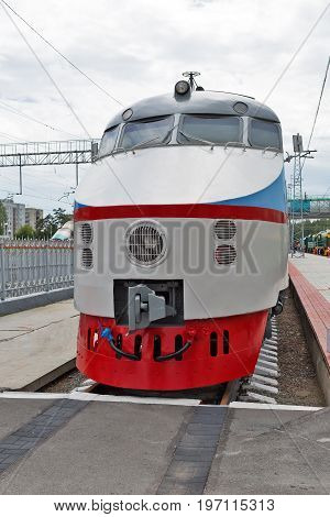Novosibirsk Museum of railway equipment in Novosibirsk Siberia Russia - July 7 2017: ER 200 - 2 second edition - Soviet high-speed train DC. Produced by Riga carriage works