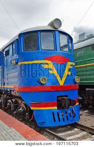Novosibirsk Museum of railway equipment in Novosibirsk Siberia Russia - July 7 2017: Mainline passenger locomotive TE 7. Built in 1964 Luhanskteplovoz
