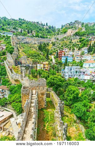The Winding Fortress Wall In Alanya