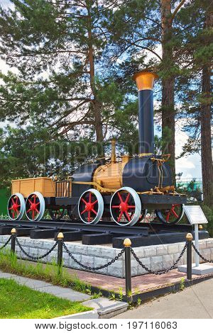 Novosibirsk Museum of railway equipment in Novosibirsk Siberia Russia - July 3 2017: the layout of the first Russian steam locomotive Cherepanov ( 1834 )