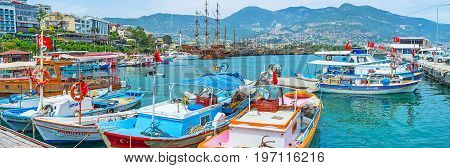 Panorama With Fishing Boats In Alanya