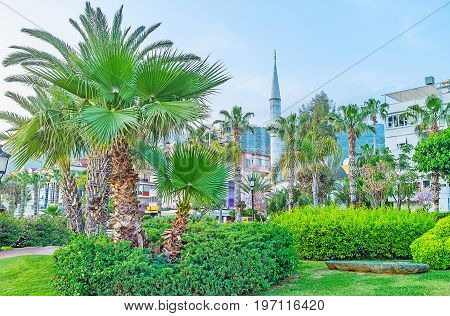 The Minaret Among The Greenery In Alanya