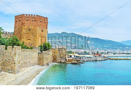 The Red Tower Behind Alanya Fortress Wall