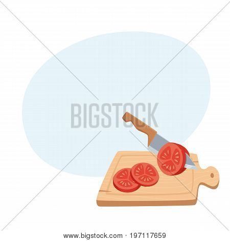 Cut tomato with a knife on a cutting board. Cooking process vector illustration. Kitchenware and cooking utensils isolated on white. Tasty food recipe