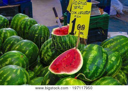 Photo of a Watermelon on sale in a bazaar in Izmir, Turkey Translation: