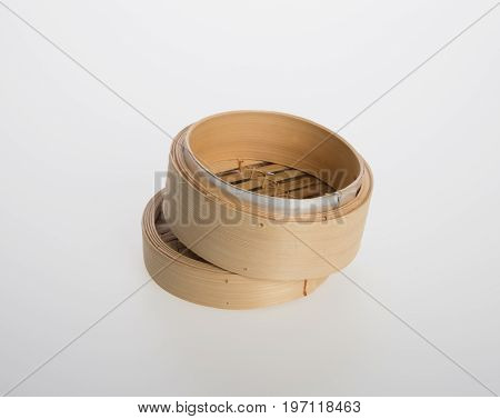 Chinese Bamboo Steamed Or Bamboo Steamed For Dimsum On Background.