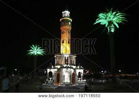 Famous ancient clock tower in Konak Square, Izmir, built in 1901, the tower became the symbolic landmark of Izmir.