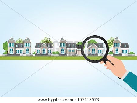 Magnifying glass in human hand with house icon select to holding a right house Property For Sale Real estate conceptual vector illustration.