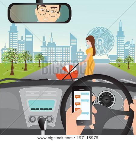 Man using smartphone while driving the car when woman with a stroller are crossing the road traffic accident graphic design conceptual vector illustration.