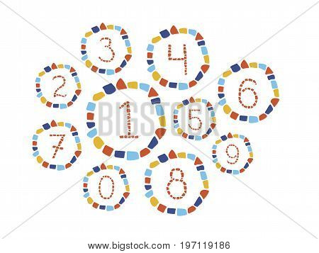 Isolated mosaic numbers in frame from 0 to 9. Ceramic tile texture. Easy to recolor.