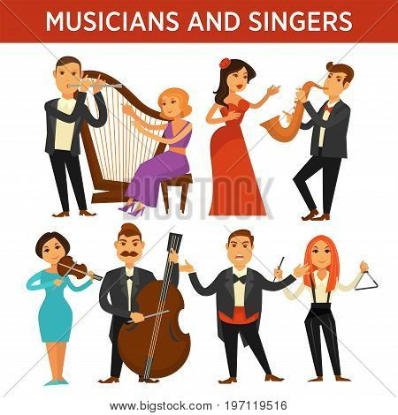 Male musicians in tuxedos with metal flute, golden saxophone, huge violoncello and opera singer. Women play big harp, wooden violin, metal triangular and vocalist in red dress vector illustrations.