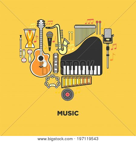 Music themed emblem with musical instruments in heart vector illustrations on orange background. Authentic percussion, melodic keyboards, wind instruments, acoustic guitar and electric microphones.