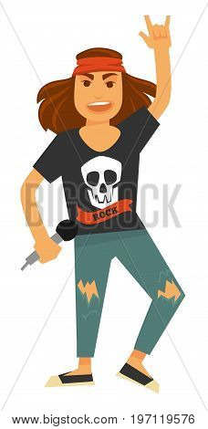 Young rock singer with long hair and headband in blue ripped jeans and black T-shirt with skull holds microphone and shows rockers sign isolated cartoon vector illustration on white background.