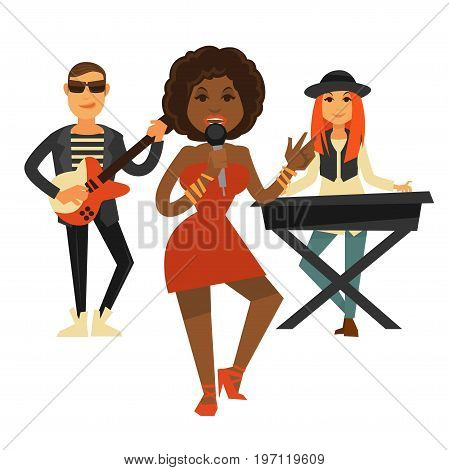 Cool music band performs pop song isolated vector illustration on white background. African female singer in red dress, redhead young woman plays piano and man in leather jacket with electric guitar.