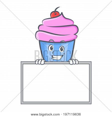 Grinning cupcake character cartoon style with board vector illustration