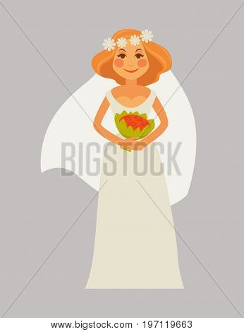 Vector illustration of smiling young woman in bridal gown with red bunch.