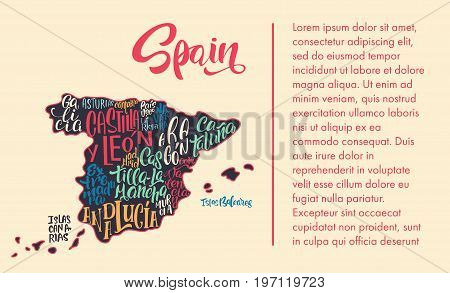 Silhouette Map Spain Handwritten Vector Photo Bigstock