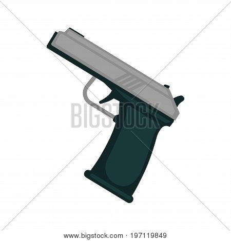 Vector illustration of minimal metal pistol isolated on white.