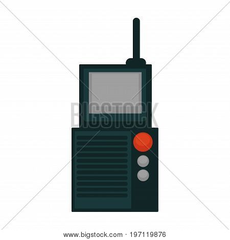 Vector illustration of portable radio set isolated on white.