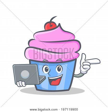 cupcake character cartoon style bring laptop vector illustration