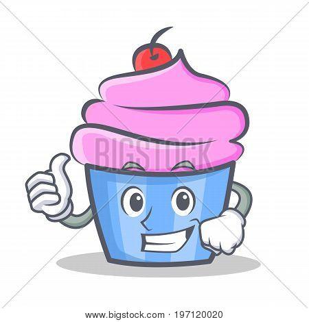 Proud cupcake character cartoon style vector illustration