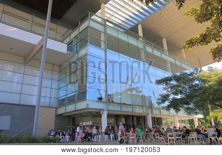 BRISBANE AUSTRALIA - JULY 8, 2017: Unidentified people visit GOMA museum. GOMA Queensland Government of Modern Art is the largest gallery of modern and contemporary art in Australia.