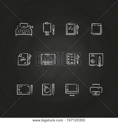 Writing tools line icons on chalkboard design. Equipment for writing. Vector illustration