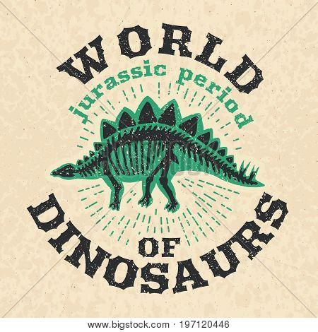 Vintage poster of fossil bones of dinosaur. Big skeleton world of dinosaurus in jurassic period poster, vector illustration