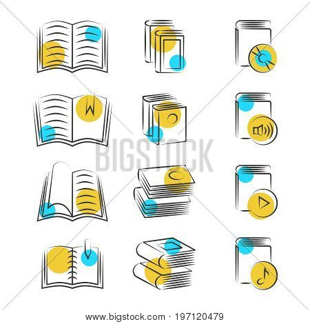 Hand drawn line book icons on white background. Sketch drawing books. Vector illustration