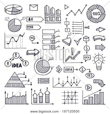 Pie graph, graphics and charts. Business illustrations in hand drawn style. Business graphic chart and diagram, information hand drawn pie chart statistic