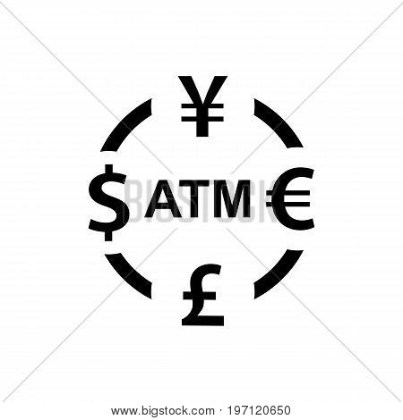 Currency Exchange Icon. Dollar Yen Euro Pound Atm Signs