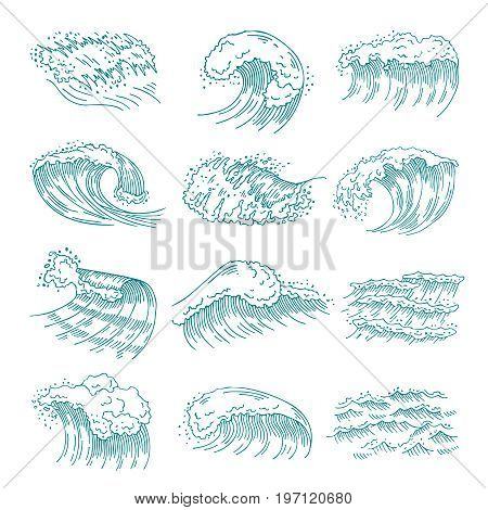 Monochrome pictures set of marine waves with different splashes. Vector illustration in hand drawn style. Water wave sea and ocean, marine flow splash and swirl