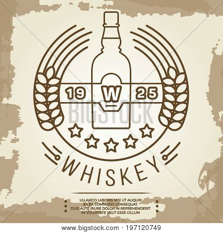 Vintage whiskey label design - retro drink poster. Whiskey linear retro logo. Vector illustration