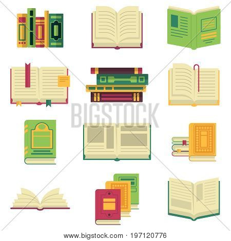 Opened and closed different books and magazines or encyclopedias. Vector pictures in cartoon style book literature for education, textbook paper illustration