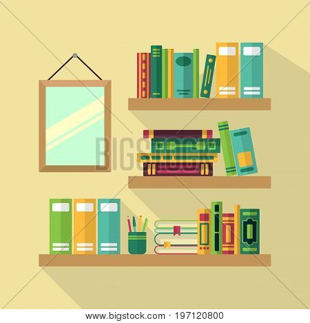 Wood bookshelf in library with different books. Vector illustration. Book literature on wood bookshelf