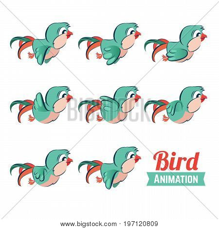 Key frames animation of bird flying. Cartoon zoo vector illustration. Animation bird animal, movement wildlife sequence