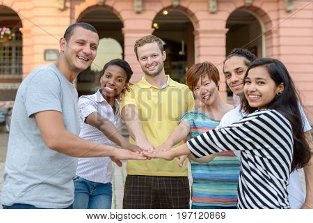 Happy Smiling Multiracial Group Of Young Friends
