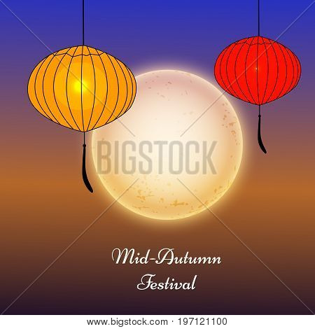 illustration of lanterns and moon with Mid Autumn Festival Text on the occasion of Mid Autumn Festival