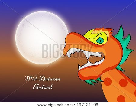 illustration of dragon and moon with Mid Autumn Festival text on the occasion of Mid Autumn Festival