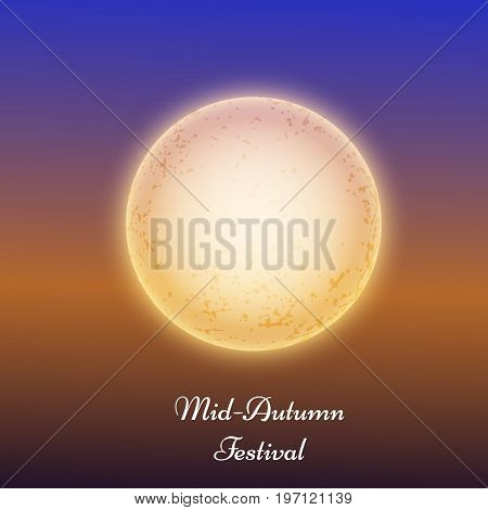 illustration of moon with Mid Autumn Festival Text on the occasion of Mid Autumn Festival