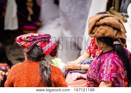 View on Maya woman on market in chichicastenango - Guatemala