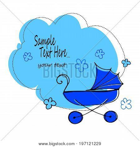 stroller baby illustration carriage vector child childhood design pram buggy